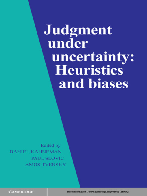 Judgment Under Uncertainty (eBook)