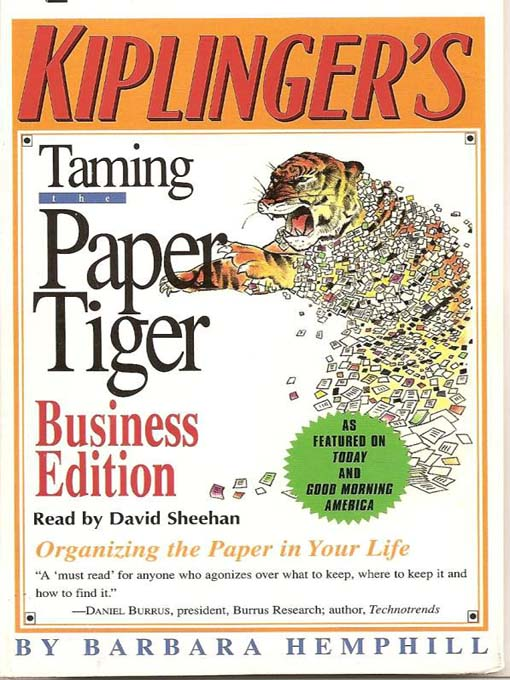 Taming the Paper Tiger: Organizing the Paper in Your Life (MP3)