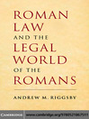 Roman Law and the Legal World of the Romans (eBook)