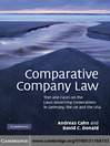 Comparative Company Law (eBook): Text and Cases on the Laws Governing Corporations in Germany, the UK and the USA