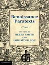 Renaissance Paratexts (eBook)