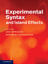 Experimental Syntax and Island Effects (eBook)