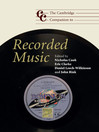 The Cambridge Companion to Recorded Music (eBook)
