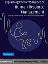 Explaining the Performance of Human Resource Management (eBook)