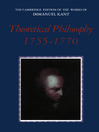 Theoretical Philosophy, 1755-1770 (eBook)