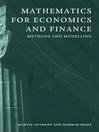 Mathematics for Economics and Finance (eBook)