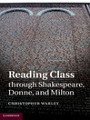 Reading Class through Shakespeare, Donne, and Milton (eBook)