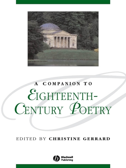 A Companion to Eighteenth-Century Poetry (eBook)