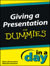 Giving a Presentation In a Day For Dummies (eBook)