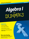 Algebra I For Dummies (eBook)