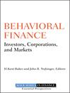 Behavioral Finance (eBook): Investors, Corporations, and Markets