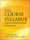 The Course Syllabus (eBook): A Learning-Centered Approach