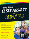 Sony Alpha SLT-A65/A77 For Dummies (eBook)