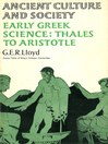Early Greek Science (eBook): Thales to Aristotle