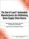 The End of Lean? (eBook): Automobile Manufacturers Are Rethinking Some Supply Chain Basics