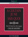 A Certain Je Ne Sais Quoi (MP3): Words We Pinched from Other Languages