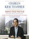 Things That Matter (MP3): Three Decades of Passions, Pastimes and Politics