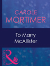 To Marry McAllister (eBook)