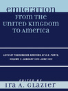 Emigration from the United Kingdom to America, Volume 7 January 1873-June 1873 (eBook): Lists of Passengers Arriving at U.S. Ports