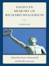 Essays in Memory of Richard Helgerson (eBook): Laureations
