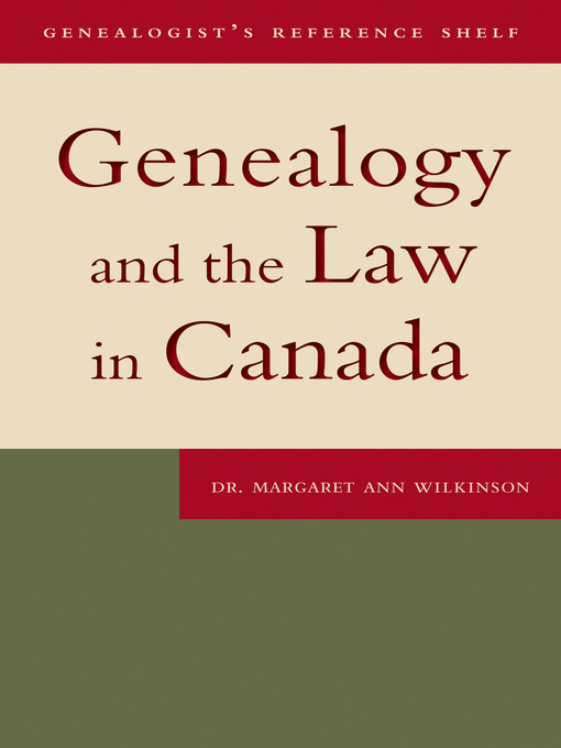 Genealogy and the Law in Canada (eBook)
