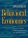 Advances in Behavioral Economics (eBook)