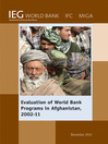 Evaluation of World Bank Programs in Afghanistan 2002-11 (eBook)