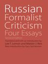 Russian Formalist Criticism (eBook): Four Essays