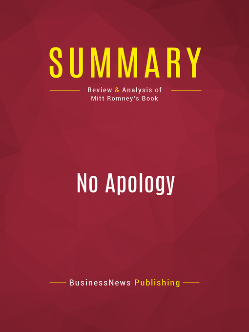 Summary of No Apology (eBook): The Case for American Greatness--Mitt Romney