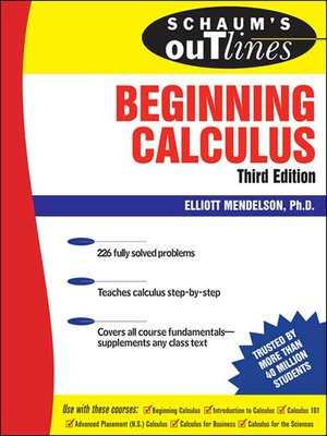 Click this cover for a(n) eBook sample of Beginning Calculus.