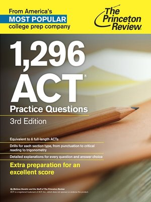 Click this cover for a(n) eBook sample of 1,296 ACT Practice Questions.