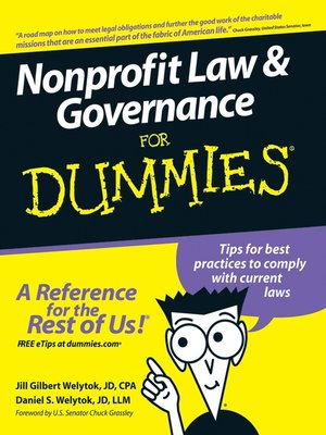 Cover of Nonprofit Law & Governance For Dummies