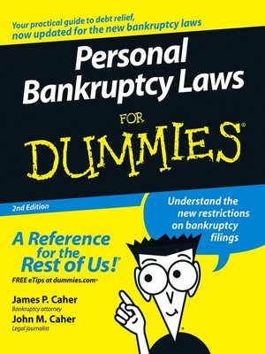 Cover of Personal Bankruptcy Laws For Dummies