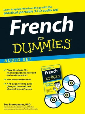 Click this cover for a(n) Audiobook sample of French For Dummies.