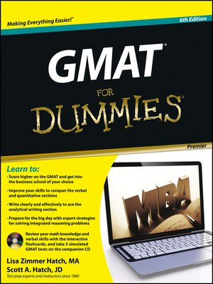 Click this cover for a(n) eBook sample of GMAT For Dummies