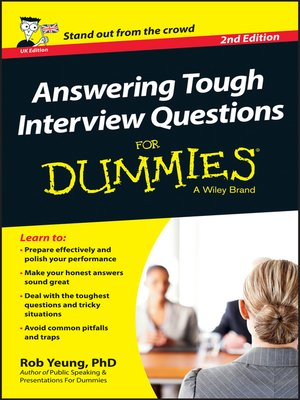 Click this cover for a(n) eBook sample of Answering Tough Interview Questions For Dummies