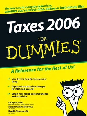 Click this cover for a(n) eBook sample of Taxes 2006 For Dummies.