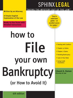 Click this cover for a(n) eBook sample of How to File Your Own Bankruptcy (or How to Avoid It), 6e