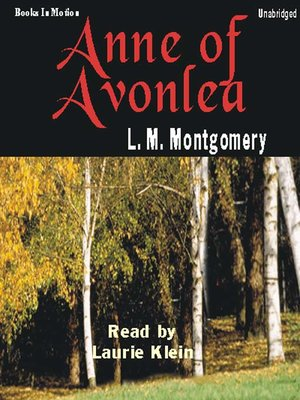 Click this cover for a(n) Audiobook sample of Anne of Avonlea