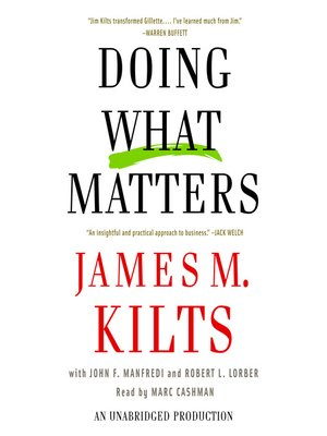 Click this cover for a(n) Audiobook sample of Doing What Matters