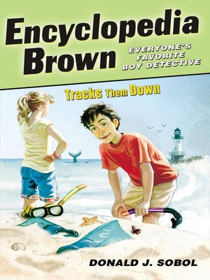 Click this cover for a(n) eBook sample of Encyclopedia Brown Tracks Them Down.