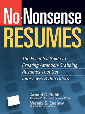 Click this cover for a(n) eBook sample of No-Nonsense Resumes