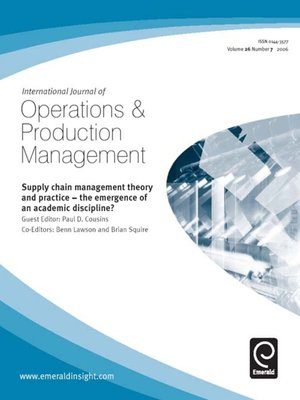 journal of operation management perspectives on In this paper, we provide a perspective on why behavioral research is critical to  the operations  journal of operations management xxx (2005) xxx–xxx.