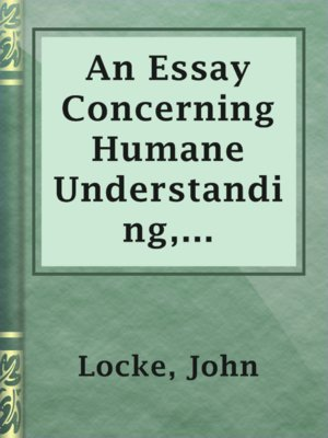 in an essay concerning human understanding