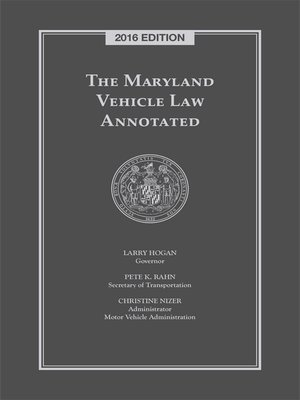 Motor vehicle and traffic law overdrive ebooks for Maryland motor vehicle laws